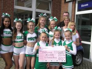 500,- Euro Förderung für die Cheerleader durch die Stadtwerke Pulheim